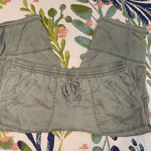 Lane Bryant Olive Green Cargo Cropped Pants